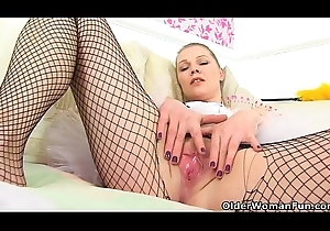 English milf Abi acquires brisk upon fishnet tights