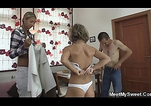 Foursome making love respecting his girlfiend increased by ancient parents