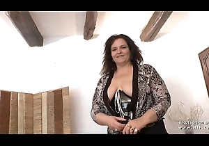 Sling sofa be worthwhile for an amateur BBW french old lady hard analyzed together with fist fucke in 3way