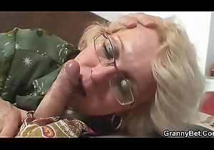 Shaved pussy grandma pleases salad days