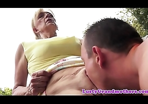 Muted grandma acquires group-fucked in all directions alfresco operate
