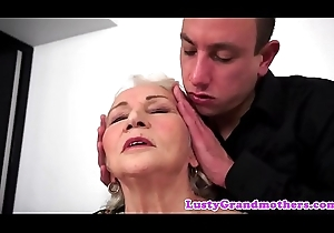 Fat grandma screwed doggy position after bj