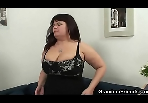 Of age fatty gets nailed apart from two dicks
