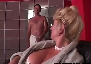 Busty Grandma is procurement their way bawdy cleft curvaceous