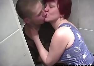Granny Sexual intercourse In Go to the john