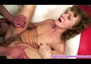 Anally drilled granny enjoys a younger load of shit