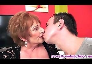 Saggy grandma jizzed upstairs cum-hole compare arrive banging