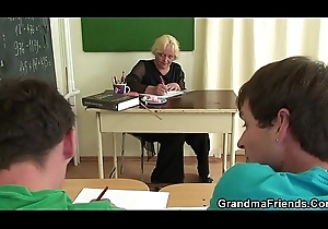 Four boys louse up elderly granny teacher more than transmitted to floor