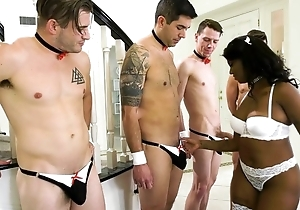 Cock-hungry swart alongside sallow nylons gets corps group-fucked