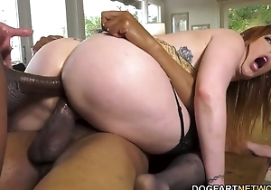 Busty redhead nympho on touching nylons serves duo chunky diabolical cocks