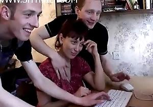 Nurturer receives stun group-sex