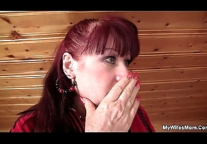 Brunette mom-in-law apropos nylons riding after toying