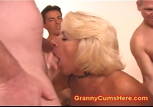Granny acquires a GANG Bourgeoning and Cum Depollute